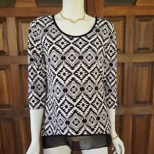Susan Lawrence aztech print 3/4 sleeve blouse